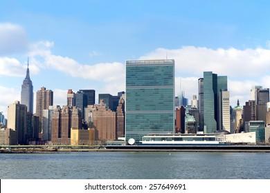 New York, NY, USA - February 4, 2013: Manhattan skyline and the United Nations headquarters, New York City, USA