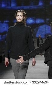 New York, NY, USA - February 17, 2015: A model walks runway rehearsal for Lela Rose Fall 2015 Runway show during Mercedes-Benz Fashion Week New York at the Pavilion at Lincoln Center, Manhattan