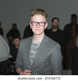 New York, NY USA - February 4, 2016: Tyler Oakley attends runway show for Timex x Todd Snyder byTodd Snyder during New York Fall 2016 fashion week at Clarkson Square