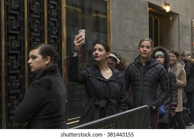 New York, NY USA - February 23, 2016: Dancers line up outside Radio City Music Hall for Rockette auditions in Rockettes New York Spectacular