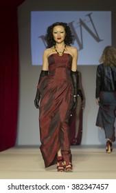New York, NY USA - February 11, 2016: Model walks runway for Homme by Malan Breton during New York Fall 2016 fashion week at Gotham Hall