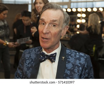 New York, NY USA - February 1, 2017: Bill Nye attends the blue jacket fashon show in support for prostate cancer awarness during New York Fashion week at Pier 59