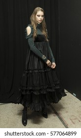 New York, NY USA - February 11, 2017: Model shows off dress by Jill Stuart backstage in preparation for presentation during New York Fashion week Fall 2017 at 195 Broadway