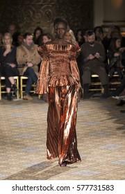 New York, NY USA - February 11, 2017: Model walks runway for Christina Siriano collection during New York Fashion week Fall 2017 at  Plaza Hotel