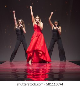 New York, NY USA - February 9, 2017: Rachel Platten in Marchesa performs for the Red Dress Collection 2017 fashion show by Macys at Hammerstein Ballroom to benefit American Heart Association