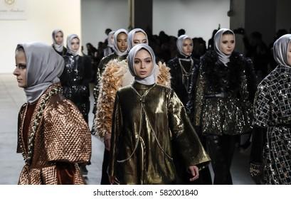 New York, NY, USA - February 14, 2017: Models walk runway for Anniesa Hasibuan FW17 collection runway show during New York Fashion Week at Skylight Clarkson Sq., Manhattan