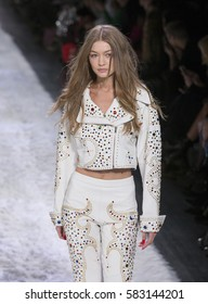 New York, NY USA - February 10, 2017: Gigi Hadid walks runway for Jeremy Scott collection during New York Fashion week Fall 2017 at Clarkson Square