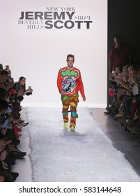 New York, NY USA - February 10, 2017: Designer Jeremy Scott walks runway for Jeremy Scott collection during New York Fashion week Fall 2017 at Clarkson Square