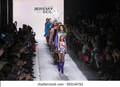 New York, NY USA - February 10, 2017: Models walk runway for Jeremy Scott collection during New York Fashion week Fall 2017 at Clarkson Square