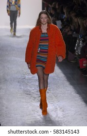 New York, NY USA - February 10, 2017: Model walks runway for Jeremy Scott collection during New York Fashion week Fall 2017 at Clarkson Square