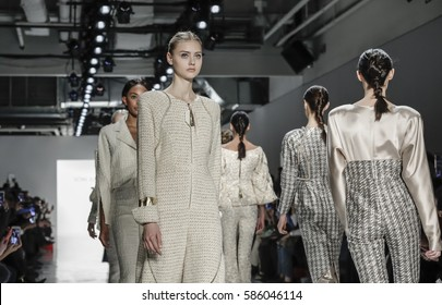 New York, NY, USA - February 11, 2017: Models walk runway for Son Jung Wan Fall/Winter 2017 collection runway show during New York Fashion Week at Skylight Clarkson Sq., Manhattan