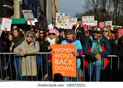New York, NY, USA January 20, 2018 Hundreds of thousands take to the streets to participate in the Women's March in New York City