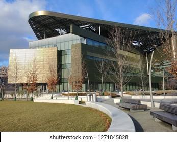 New York, NY / USA - January 1 2019: Bloomberg Center, Cornell Tech Campus on Roosevelt Island