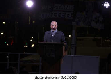 New York, NY USA - January, 19 2017: Reverend Al Sharpton speaks onstage during the We Stand United NYC Rally outside Trump International Hotel & Tower