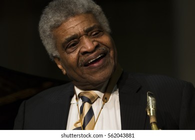 New York, NY USA - January 5, 2017: George Coleman performs during Jazz legends for disability pride concert as part of New York Winter Jazz festival at Quaker Hall