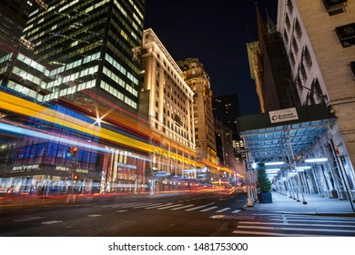New York NY - USA - Jul 30 2019: Fifth Avenue at night with light trail in New York City