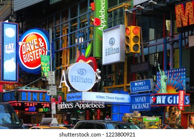 New York, NY / USA - July 11, 2015: Times Square Hilton Dave and Busters and Applebee's