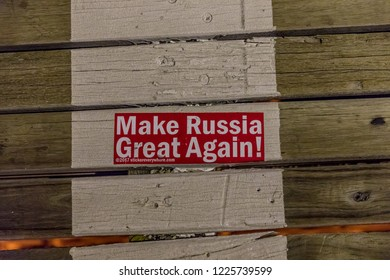 "New York, NY \ USA - July 01 2018: Sticker on a Brooklyn Bridge with words ""Make Russia Great Again"""
