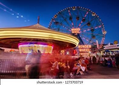 New York, NY, USA - July 8, 2018: Wonder Wheel in Coney Island Luna Park, Brooklyn, New York