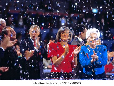 New York, NY., USA, July 16,1992 Congressman Steny Hoyer Congresswoman Patricia Schroeder and Governor Ann Richards at the Democratic National Convention that nominated  William Clinton for President