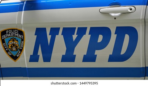 New York, NY / USA - July 12, 2019 : NYPD CPR Police Car Logos and Markings