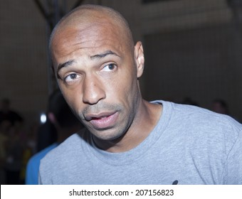 New York, NY, USA - July 25, 2014: Arsenal Legend Thierry Henry attends PUMA partners with Arsenal Football Club to Debut Monumental Cannon event in Grand Central Station in New York City.