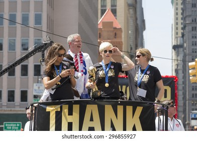 New York, NY USA - July 10, 2015: Carli Lloyd, Megan Rapinoe, Jill Ellis, Bill de Blasio  attend New York City Ticker Tape Parade For World Cup Champions U.S. Women Soccer National Team on Broadway