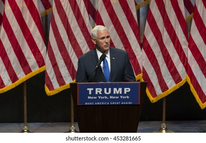 New York, NY USA - July 16, 2016: Mike Pence speaks during Donald Trump introduction Governor Mike Pence as running for vice president at Hilton hotel Midtown Manhattan
