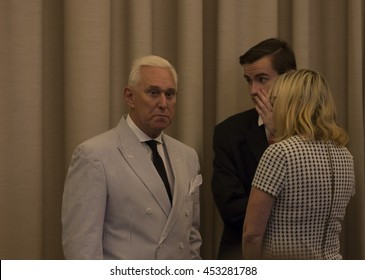 New York, NY USA - July 16, 2016: Roger Stone attends Donald Trump introduction Governor Mike Pence as running for vice president at Hilton hotel Midtown Manhattan