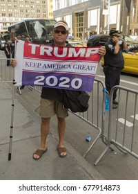 New York, NY USA - July 15, 2017: Supporters of President Trump staged counter rally on 5th avenue in New York