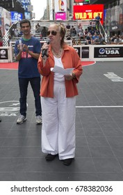 New York, NY USA - July 15, 2017: NYC Council member Yidanis Rodriguez & Manhattan Borough President Gale Brewer attend US Street Soccer NYC Cup 2017 event on Times Square
