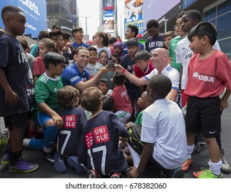 New York, NY USA - July 15, 2017: Opening presentation for US Street Soccer NYC Cup 2017 event on Times Square