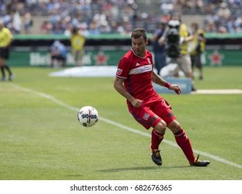 New York, NY USA - July 22, 2017: Nemanja Nikolic (23) of Chicago Fire controls ball during regular MLS game against NYC FC at Yankee stadium
