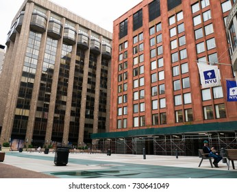 NEW YORK, NY, USA - JULY 24, 2017: Gould Plaza of New York University. Founded in 1831, NYU is a private nonprofit research university based in New York City.