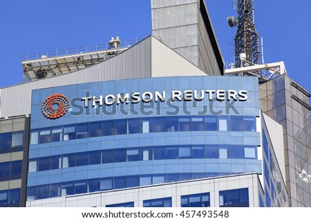 New York, NY, USA - July 23, 2016: Thomson Reuters: The Corporation is a major multinational mass media and information firm. Its operations are headquartered at Times Square in Manhattan.