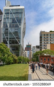 New York, NY, USA - June 8, 2015: The High Line Park in New York City. It is a 2,33 km long elevated linear park, greenway and rail trail, created on a former New York Central Railroad spur on the