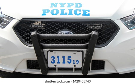 New York, NY / USA - June 5, 2019 : NYPD Police Car Parked in Mid-Town Manhattan
