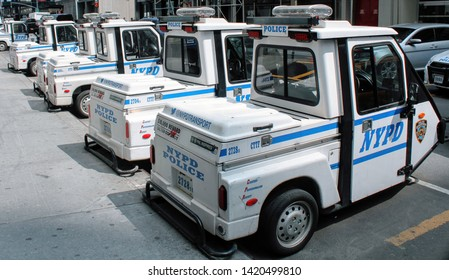 New York, NY / USA - June 5, 2019 : NYPD Meter Maid Carts in Mid-Town Manhattan