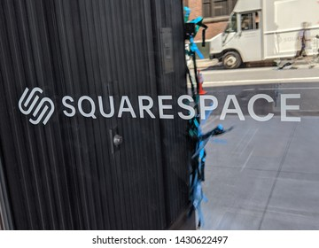 NEW YORK, NY USA - JUNE 21, 2019: Squarespace Headquarters during pride
