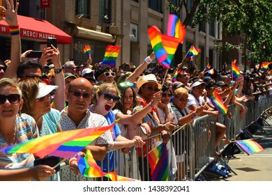 New York, NY, USA June 30, 2019 Spectators cheer on the participants of the World Pride parade in New York City