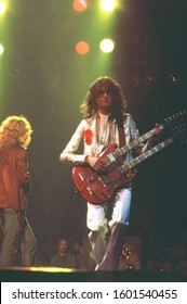 New York, NY / USA - June 14, 1977: Legendary guitarist Jimmy Page performs with his band, Led Zeppelin, at Madison Square Garden on their 1977 North American tour.