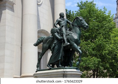 New York, NY, USA - June 28, 2020: Theodore Roosevelt equestrian monument at the Museum of Natural History