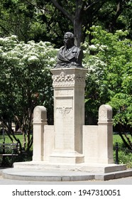 New York, NY, USA - June 1, 2020: Monument to Alexander Lyman Holley 19th-century prominent mechanical engineer, inventor, public figure, located at the Washington Square Park