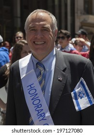 New York, NY USA - June 01, 2014: New York State Comtroller Thomas DiNapoli attends 50th annual Israeli Day parade on 5th Avenue in Manhattan
