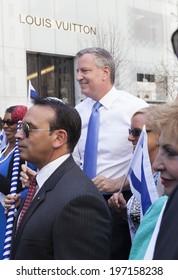 New York, NY USA - June 01, 2014: New York mayor Bill de Blasio attends 50th annual Israeli Day parade on 5th Avenue in Manhattan