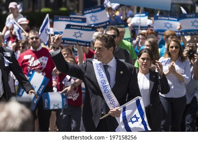 New York, NY USA - June 01, 2014: New York State Governor Andrew Cuomo attends 50th annual Israeli Day parade on 5th Avenue in Manhattan