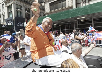 New York, NY USA - June 08, 2014: US Congressman Charles Rangel attends 57th annual Puerto Rican Day parade on 5th Avenue in Manhattan