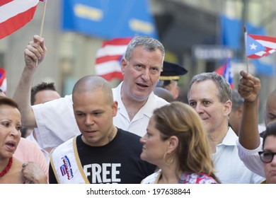 New York, NY USA - June 08, 2014: Mayor Bill de Blasio attends 57th annual Puerto Rican Day parade on 5th Avenue in Manhattan
