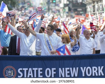 New York, NY USA - June 08, 2014: Governor Andrew Cuomo attends 57th annual Puerto Rican Day parade on 5th Avenue in Manhattan