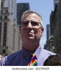New York, NY USA - June 29, 2014: New York mayor Bill de Blasio attends annual 44th Pride Parade on Fifth Avenue in Manhattan